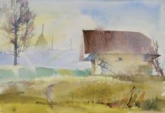 Ochtend in het dorp Stock Afbeelding