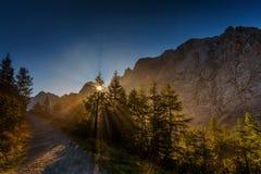 Ochtend in Julian Alps Stock Afbeeldingen
