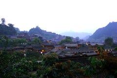 Ochtend in landelijk dorp Stock Fotografie