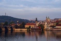 Ochtend, mening op oude stad praag Tsjechische Republiek, Europese reis Royalty-vrije Stock Afbeelding