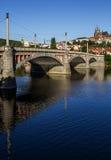 Ochtend, mening over het Kasteel van Praag, oude stad en brug praag Tsjechische Republiek, Europese reis Royalty-vrije Stock Afbeelding