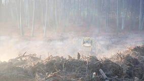Ochtend, mist, het werk van graafwerktuigen en bulldozers op de bouwwerf Grondgroepering stock videobeelden