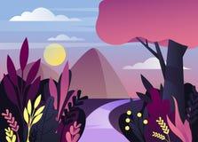 Ochtend of nachtaardpanorama met berg royalty-vrije illustratie