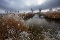 Ochtend nevelig landschap in de riviervallei Royalty-vrije Stock Fotografie