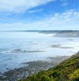 Ochtend oceaanmening van kust de Golf van Biskaje royalty-vrije stock foto