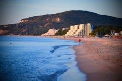 Ochtend op Albena Beach Bulgaria Sea Stock Afbeeldingen