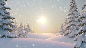 Ochtend op de Bos, Mooie de Winterachtergrond Naadloze het van een lus voorzien 3d animatie, 4K zoek meer opties in mijn stock illustratie