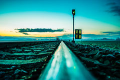 Ochtend op de spoorweg Royalty-vrije Stock Fotografie