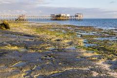 Ochtend op het oceaaneiland van kustzanzibar stock afbeelding