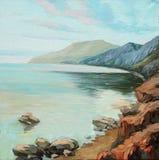 Ochtend op het overzees, die door olie schilderen Royalty-vrije Stock Foto