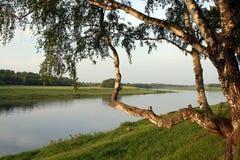 Ochtend op kust van Volga. Royalty-vrije Stock Afbeelding