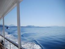 Ochtend over Ionische overzees en eilanden stock fotografie