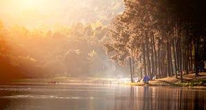 Ochtend in Pang Ung Lake, het Noorden van Thailand Stock Afbeeldingen