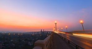 Ochtend van de Rivierbrug van Nanjing Yangtze stock foto