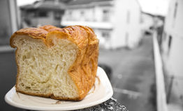 Ochtendbrood: Japans lang mild squre Deens brood van het premiebroodje Stock Fotografie