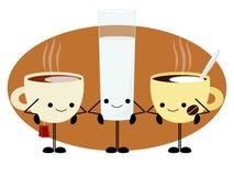 Ochtenddrank voor ontbijt wordt geplaatst dat vector illustratie