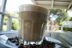 Ochtendkoffie of latte Stock Afbeelding