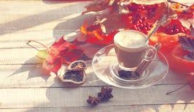 Ochtendkoffie met melkachtig schuim, kaneel, anijsplant, de herfstbladeren stock fotografie