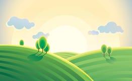 Ochtendlandschap, de dageraad over de heuvels stock illustratie
