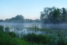 Ochtendlandschap met mist op de rivier Stock Afbeelding