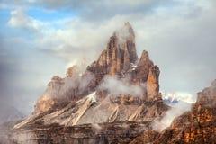 Ochtendmening van Drei Zinnen of Tre Cime di Lavaredo Stock Foto's