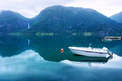 Ochtendmening van witte boot Stock Foto