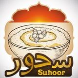 Ochtendontbijt met Hummus of Suhoor pre-vast tijdens Ramadan, Vectorillustratie royalty-vrije illustratie