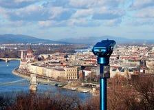 Ochtendpanorama van Boedapest, Hongarije royalty-vrije stock foto's