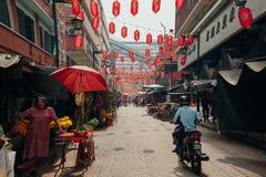 Ochtenduur in Chinatown, Kuala Lumpur, Maleisië Stock Foto