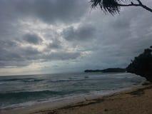ochtendwind op het strand stock afbeeldingen