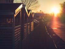 Ochtendzon op de Loodsen van de Fietsopslag in Lund, Zweden stock foto