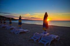 Ochtendzonsopgang Albena Beach Bulgaria Sea Stock Foto's