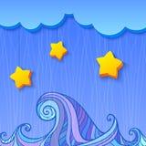Ocieniona dekoracja z chmurą i gwiazdami Zdjęcia Royalty Free