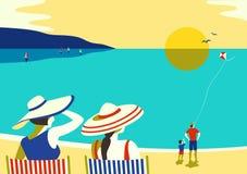 Ocio de la playa de la familia relajarse ilustración del vector