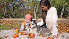Ocio, familia con el perro que disfruta de un día del otoño que se sienta en la tela escocesa con la fruta en árboles y la natura