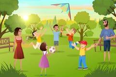 Ocio feliz de la familia en vector de la historieta del parque de la ciudad libre illustration