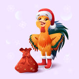 �ock, symbol of 2017 New Year on the Chinese calendar. Vector illustration of rooster,Merry Christmas, happy New Year illustration. greeting card Stock Images