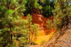 Ockerhaltige Ablagerung Roussillon: Schöne orange Kiefern und rote Felsen lizenzfreies stockfoto