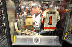 Нockey exhibits. Photo was taken in Hockey Hall of Fame Museum in Toronto City, Ontario Province, Canada. November 2013 Stock Photo