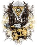 Örn och skalle royaltyfri illustrationer
