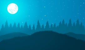 också vektor för coreldrawillustration Ängar och träd på natten Royaltyfri Fotografi
