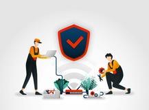 också vektor för coreldrawillustration arbetare från säkerhetsföretag är kontrollera eller underhålla säkerhetssystem på en route stock illustrationer