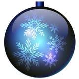 också vektor för coreldrawillustration Blå julboll med snöflingor Royaltyfria Bilder
