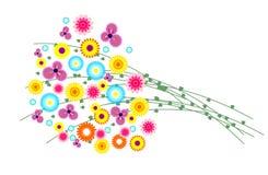 också vektor för coreldrawillustration Bukett av färgrika lösa blommor med gräs Arkivfoto