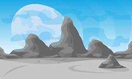 också vektor för coreldrawillustration Desertera landskapet med en kedja av höga berg på horisonten Fotografering för Bildbyråer