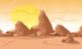 också vektor för coreldrawillustration Desertera landskapet med en kedja av höga berg på horisonten Arkivbilder