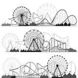 också vektor för coreldrawillustration Ferris Wheel Karneval Funfairbakgrund Cirkusen parkerar coaster prate roller vienna stock illustrationer