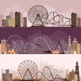 också vektor för coreldrawillustration Ferris Wheel Karneval Funfairbakgrund Cirkusen parkerar coaster prate roller vienna vektor illustrationer