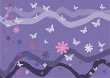 också vektor för coreldrawillustration Fjärilar, blommor och vågor på en rosa bakgrund Arkivbilder