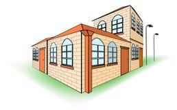 också vektor för coreldrawillustration Härligt hus med ett orange tak på en akromatisk bakgrund royaltyfri illustrationer